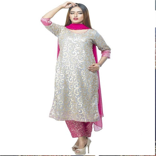 Grey Sequin Embroidered Design Formal Wear For Women