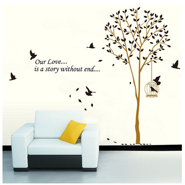 Black Tree Birdcage Wall Sticker