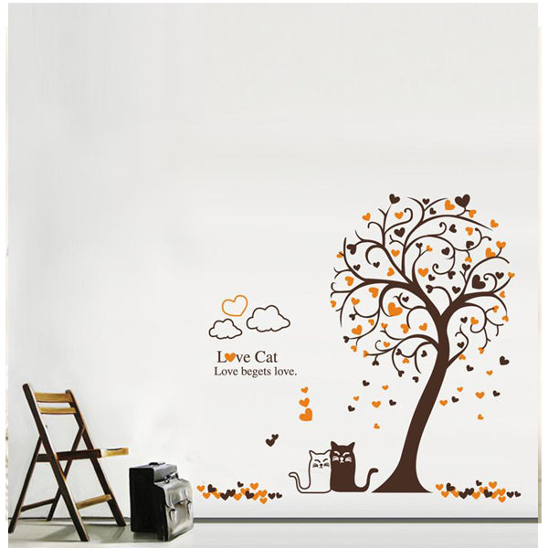 Love Cat Tree 3D Wall Sticker For Home Decoration