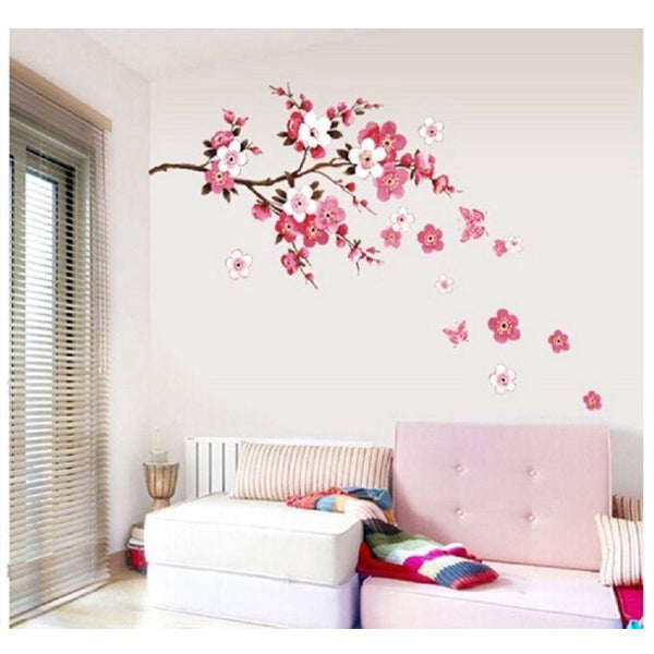 Pink Plum Flower 3D Wall Sticker For Home Decoration