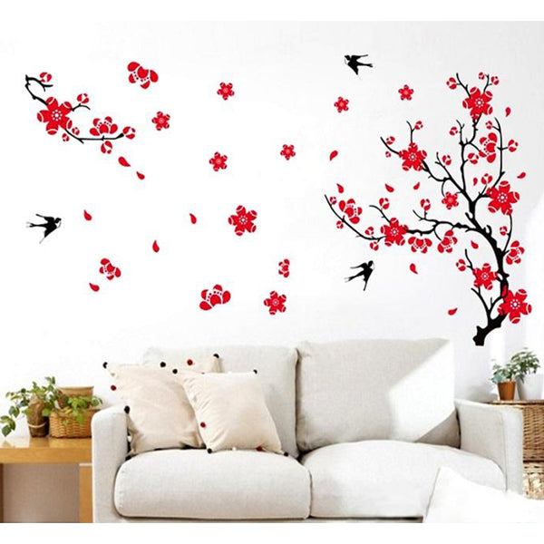 Red Plum Flower 3D Wall Sticker For Home Decoration