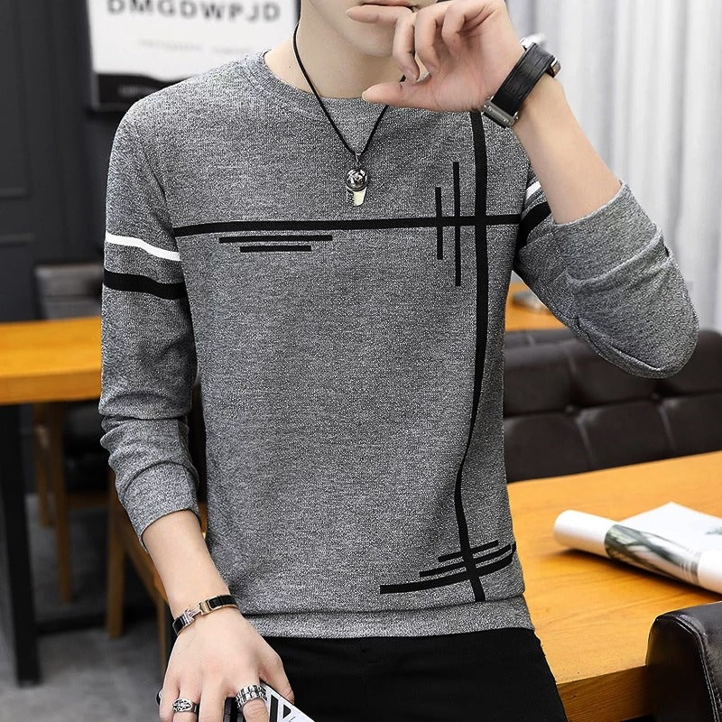 Grey Full Sleeves Lining T-Shirt