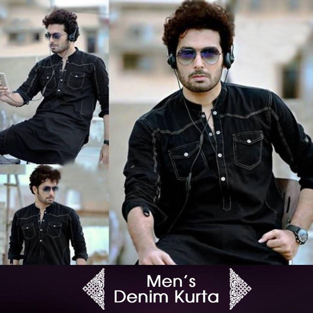 Black Denim Kurta For Men