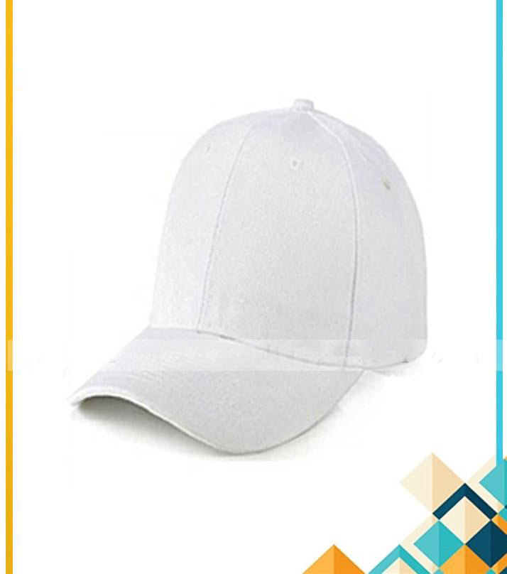 Pack of 1 - White Cotton Baseball Caps Adjustable For Men