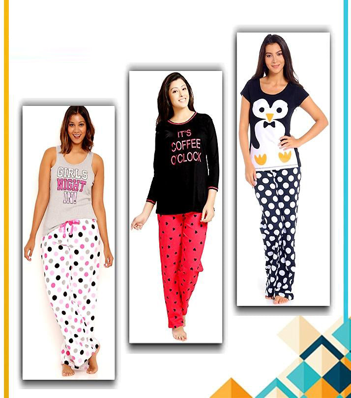 Pack Of 3 - Printed Polka Dotted Pajamas For Women