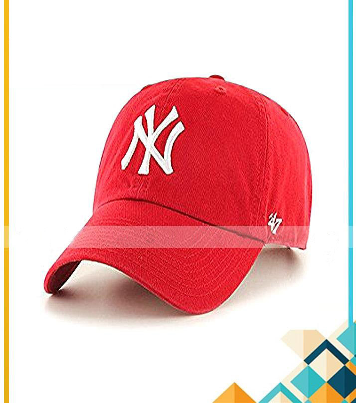 Red Cotton NY Baseball Caps Adjustable For Men