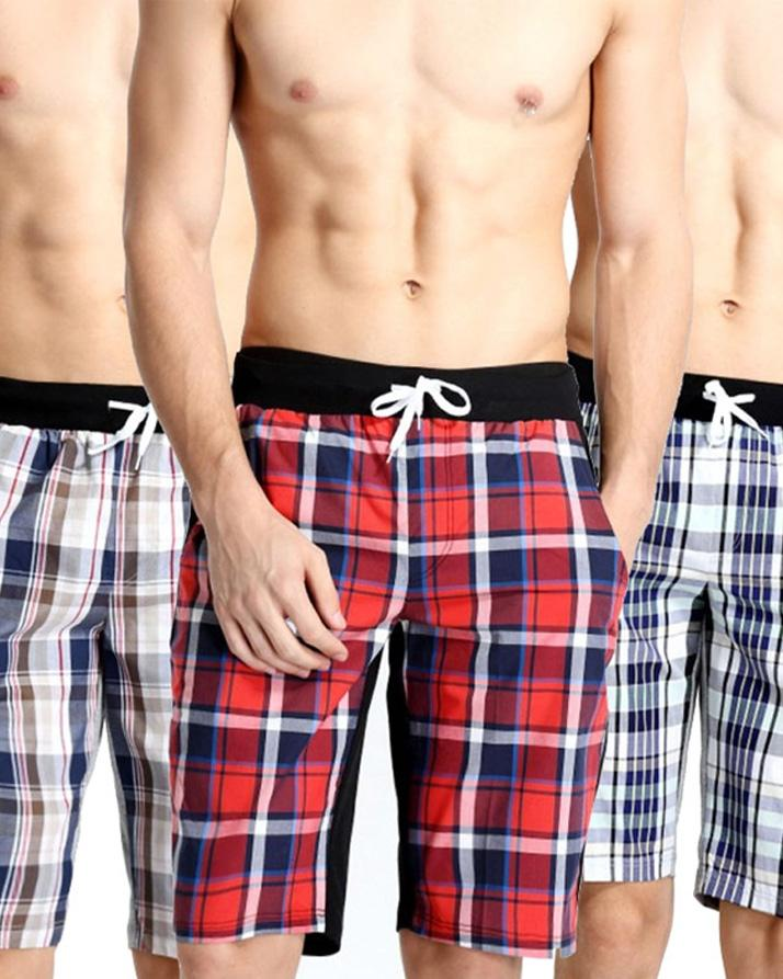 Pack of 4 - Multicolored Men's Checkered Shorts