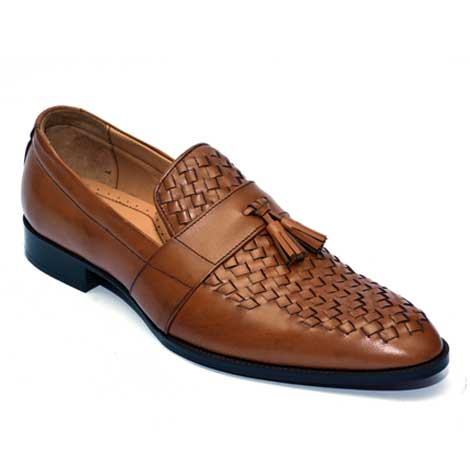 front weaved loafer JD 031 – Custom made hand crafted men leather shoes