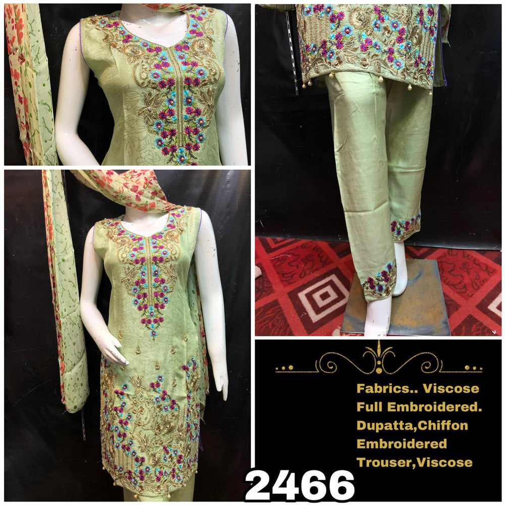 Viscose Light Green Designer Embroidered Suit (Three piece)