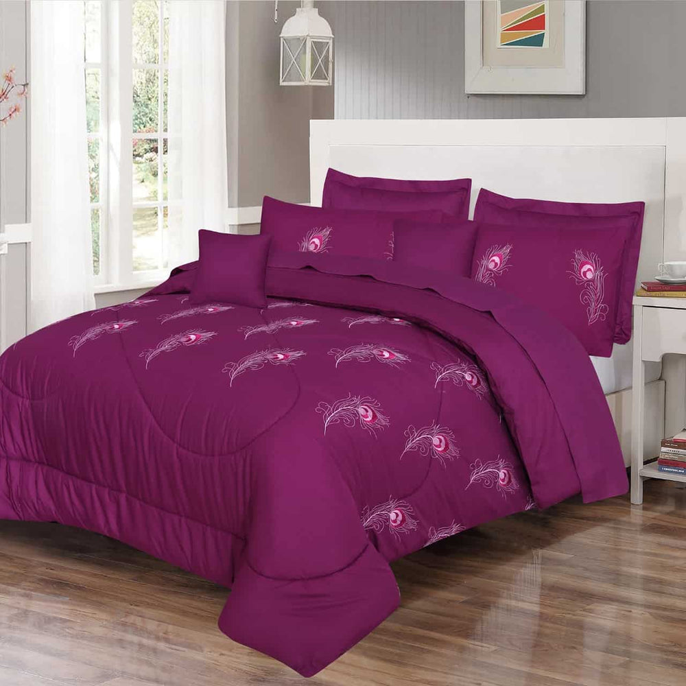 Embroidered comforter (Purple)