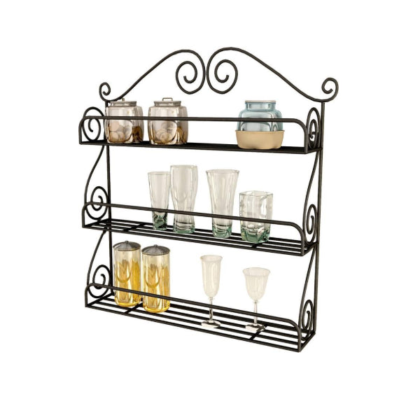 Heavy Duty Sparkle Iron Wall Shelf (Number of Shelves - 1, Black)