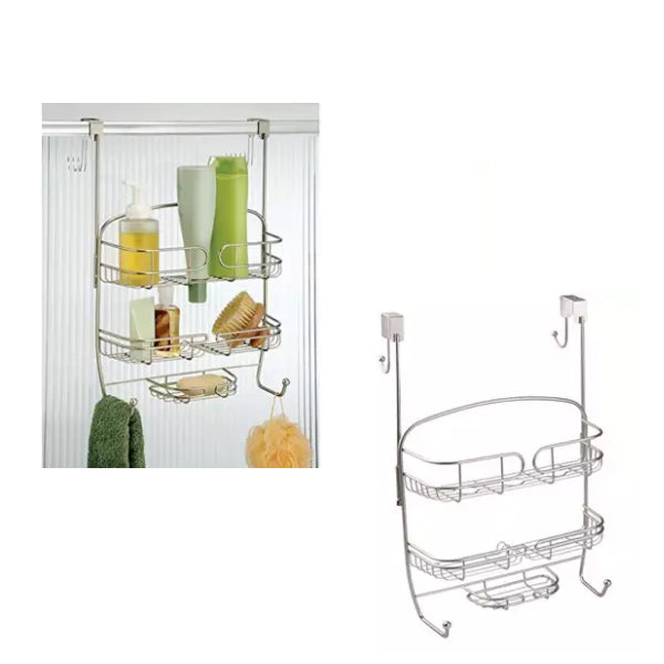 Shower Tray For Hanging Over The Shower Door - Shower Organiser Without Drilling - Shower Baskets For The Bathroom - Chrome