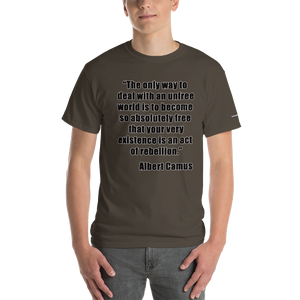 Camus Existence is Rebellion T-Shirt - Voice4liberty