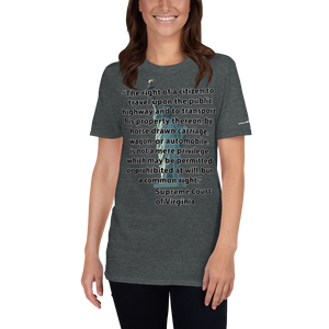 The Right to Drive Short-Sleeve Unisex T-Shirt  (153 g/m²) - Voice4liberty