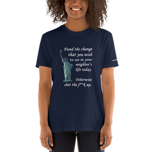 Fund the change - Short-Sleeve Unisex T-Shirt (153 g/m²) - Voice4liberty