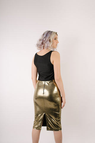 Francesca Gold Metallic Skirt
