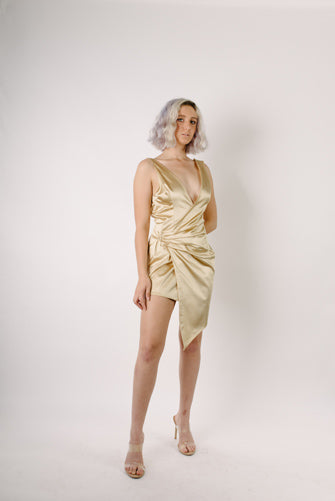 La Estrella Gold Asymmetrical Wrap Dress