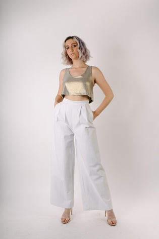 La Maricela Wide Leg Pleated Slacks