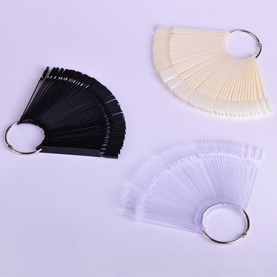 1Set False Nail Tips Nature Clear Black Fan Finger Full Card Nail Art Display Practice Acrylic UV Gel Polish Tool Manicure JI386