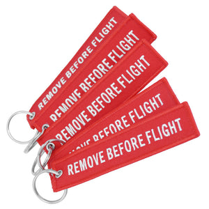 Doreen Box Remove Before Flight Fashion Tags Keychain Keyring Rectangle Polyester Embroidery Message 13*3CM Multicolor 1 Piece