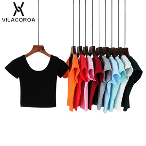 VILACOROA Best Sell U neck Sexy Crop Top Ladies Short Sleeve T Shirt Tee Short T-shirt Basic Stretch T-shirts Women Harajuku