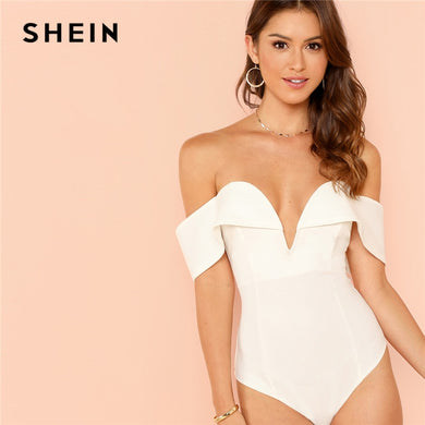 SHEIN White Deep V Neck Front Bardot Bodysuit Sexy Party Off Shoulder Skinny Bodysuits Women Plain Mid Waist Summer Bodysuit