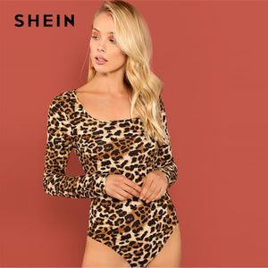 SHEIN Multicolor Night Out Party Modern Lady Square Neck Leopard Skinny Bodysuit Autumn Minimalist Workwear Women Bodysuits