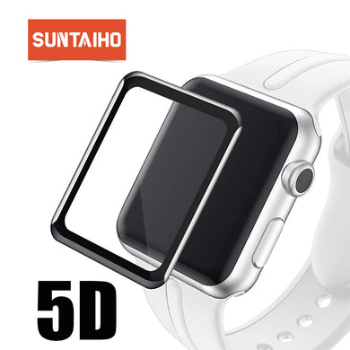 Suntaiho 5D Full Cover glass film for Apple Watch 42 38 mm Series 3 2 1Full gel Screen Protector Titanium alloy fram for i Watch