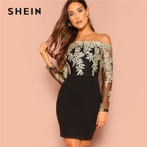 SHEIN Black Sexy Off the Shoulder Embroidered Mesh Bodice Bardot Bodycon Dress Women Long Sleeve Summer Going Out Party Dresses