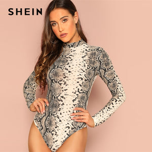 SHEIN Party Multicolor Mock Neck Stand Collar Snakeskin Print Bodysuit Long Sleeve Women 2019 Spring Night Out Bodysuits