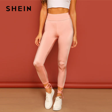 SHEIN Pink Solid Wide Waistband Lace Up Knot Hem Crop Leggings Elegant Stretchy Athleisure 2019 Casual Women Spring Trousers