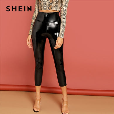 SHEIN Black Solid PU Skinny Mid-Calf Leggings Women Summer 2019 High Waist Streetwear High Street Glamorous Leggings