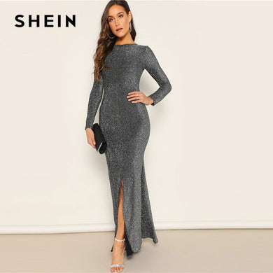 SHEIN Silver Solid Sexy Open Back Split Mermaid Hem Skinny Maxi Dress Women Spring Elegant Sheath Stretchy Party Dresses