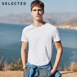SELECTED summer new cotton round neck casual solid color men's short-sleeved T-shirt S|4182T4547