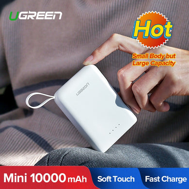 Ugreen 10000mAh Power Bank External Battey Charger for Xiaomi Portable Mobile Phone Powerbank Dual USB Charger Mini Poverbank