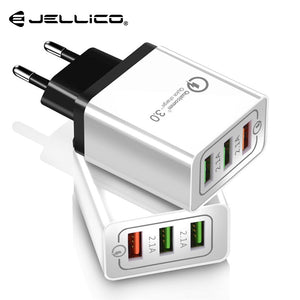 Jellico quick charge 3.0 USB Charger for iPhone X 8 7 iPad Fast Wall Charger for Samsung S9 Xiaomi mi 8 Huawei P20 Pro 3 Ports