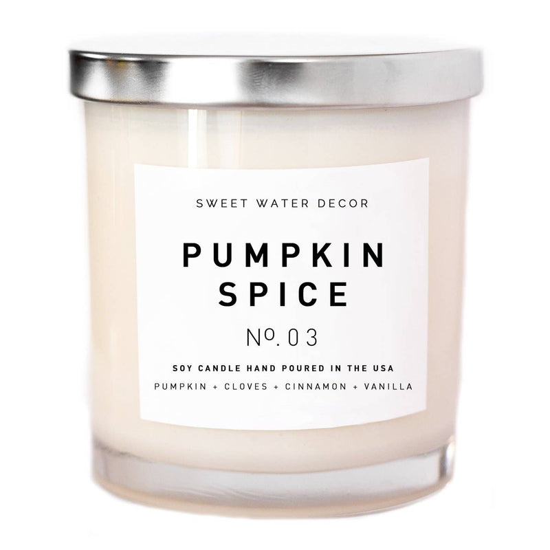 Sweet Water Decor - Pumpkin Spice Soy Candle | White Jar Candle