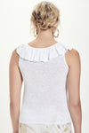 GOLDIE Ruched Ruffle Trim Tank