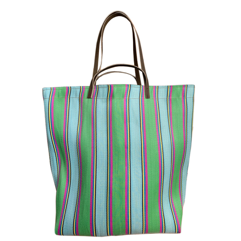 Spencer Devine - Large Assam Market Bag. Green & Magenta