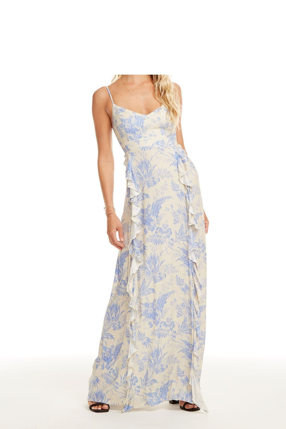 LACE UP BACK RUFFLE MAXI DRESS VICTORIA GARDENS PRINT