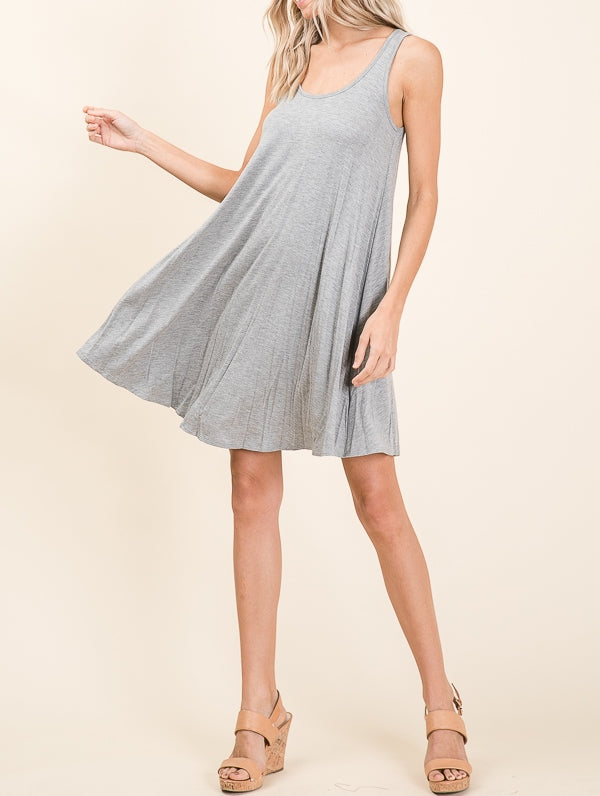 Relaxed Fit Sleeveless Dress- Heather Grey