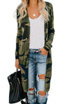 Green Camo Print Long Cardigan