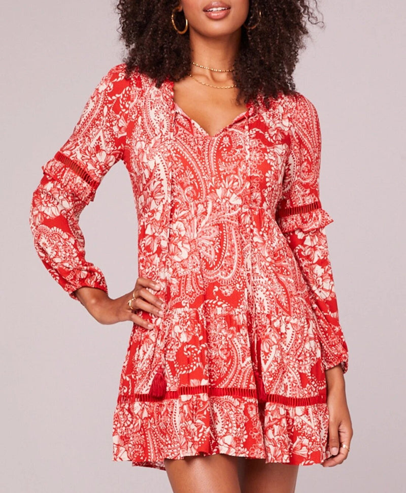 BOG Collective Natalie Paprika Paisley Long Sleeve Dress