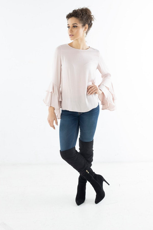 RUFFLED BELL SLEEVE BLOUSE