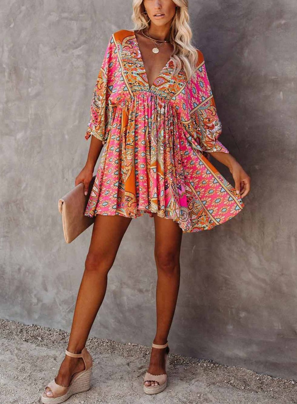 Boho Print Baby Doll Swing Dress