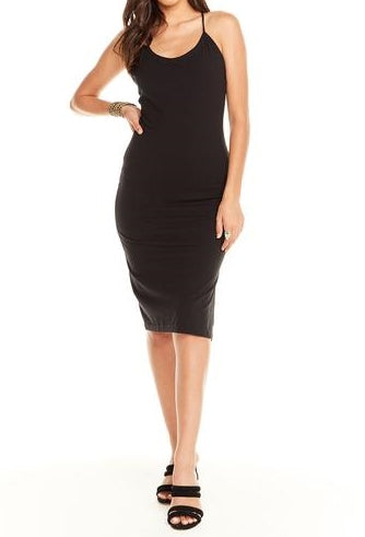 Strappy Back Bodycon Cami Dress-Black