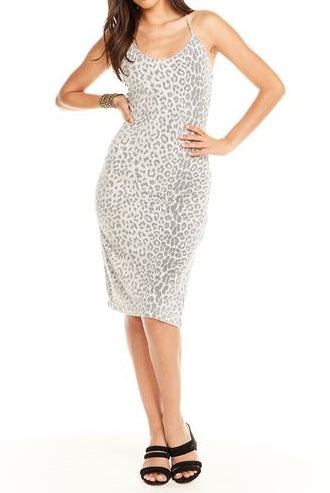 Strappy Back Bodycon Cami Dress-Animal Print