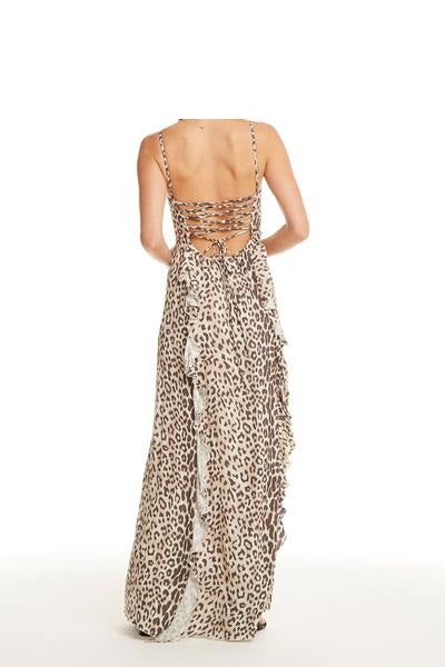 LACE UP BACK RUFFLE MAXI DRESS ANIMAL PRINT