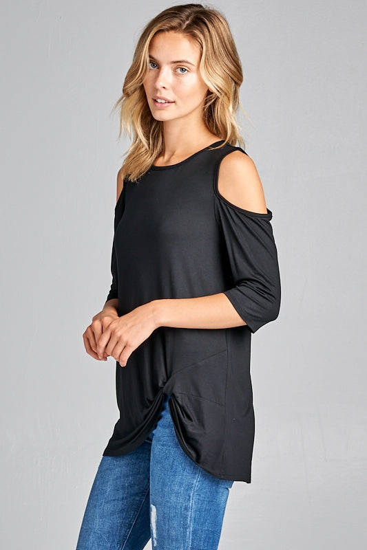 Short Sleeve Cold Shoulder Knot Front Tunic