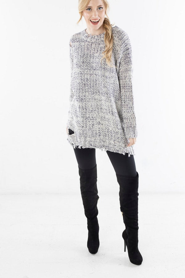 SWEATER WITH DISTRESSED DETAILING